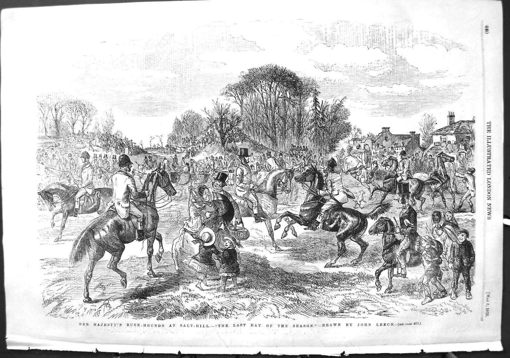 [Print 1855 Queen Buck Hounds Salt Hill Hunting Horses Dogs 440P126 Old Original]