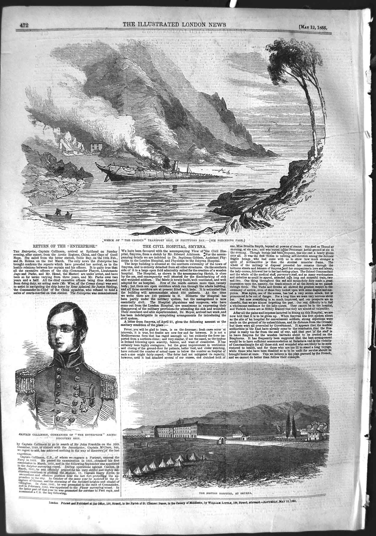 [Print 1855 Ship Wreck Croesus Collinson Hospital Smyrna War 472P126 Old Original]