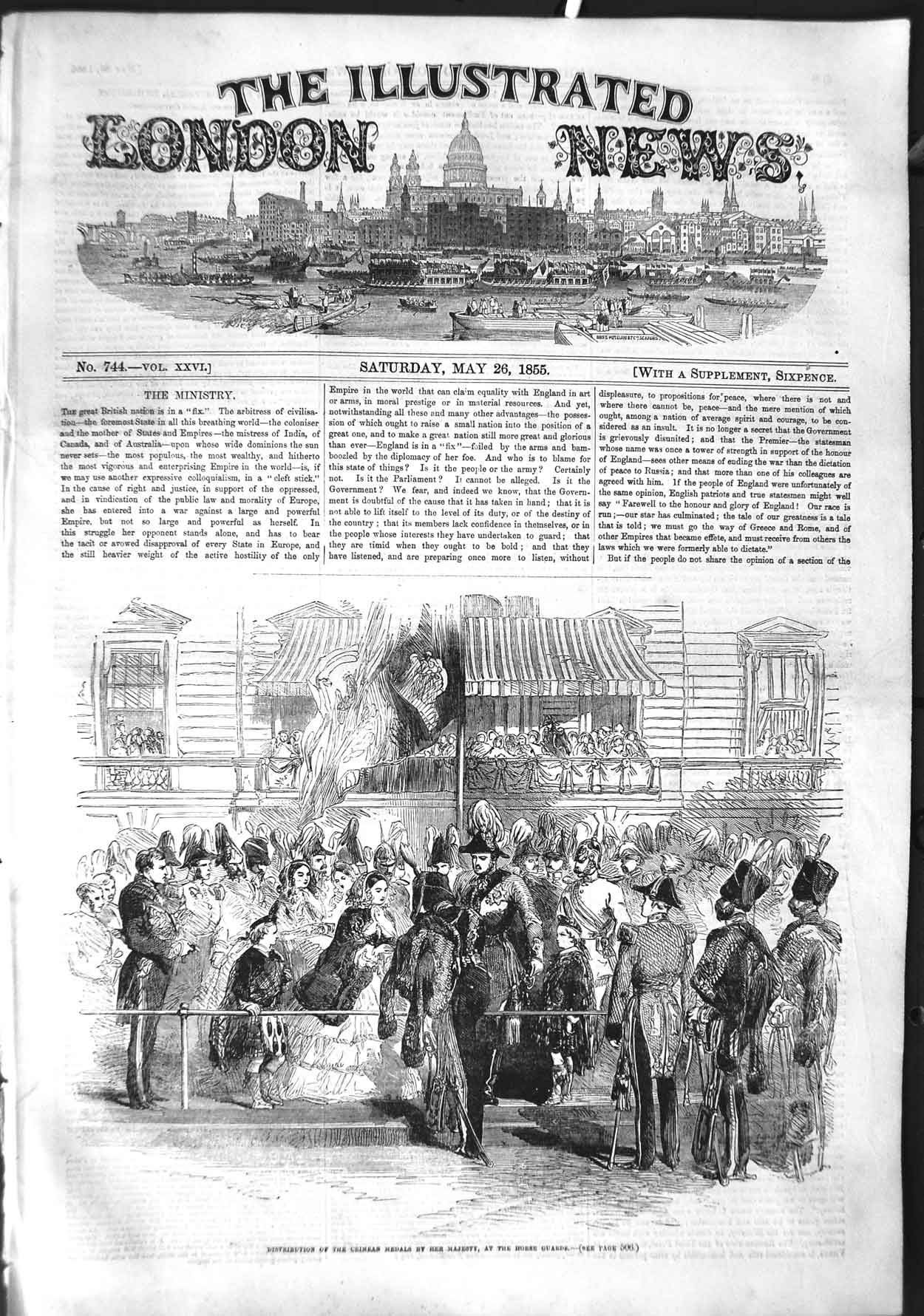 [Print 1855 Crimea War Medals Queen England Horse Guards 497P126 Old Original]