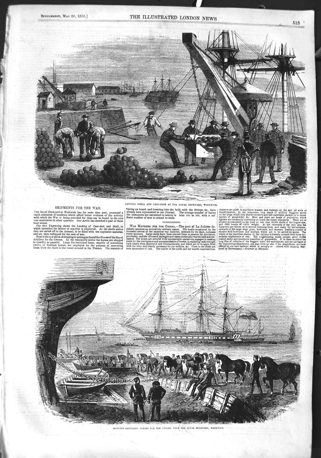 [Print 1855 Ship War Shell Dockyard Woolwich Horses Crimea 513P126 Old Original]