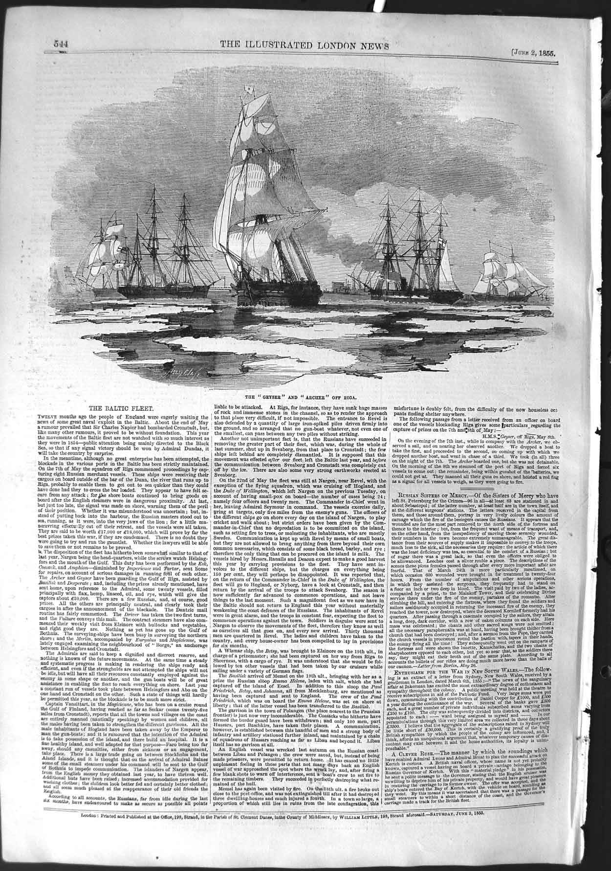 [Print 1855 Baltic Fleet Ships Geyser Archer Riga Ice War 544P126 Old Original]