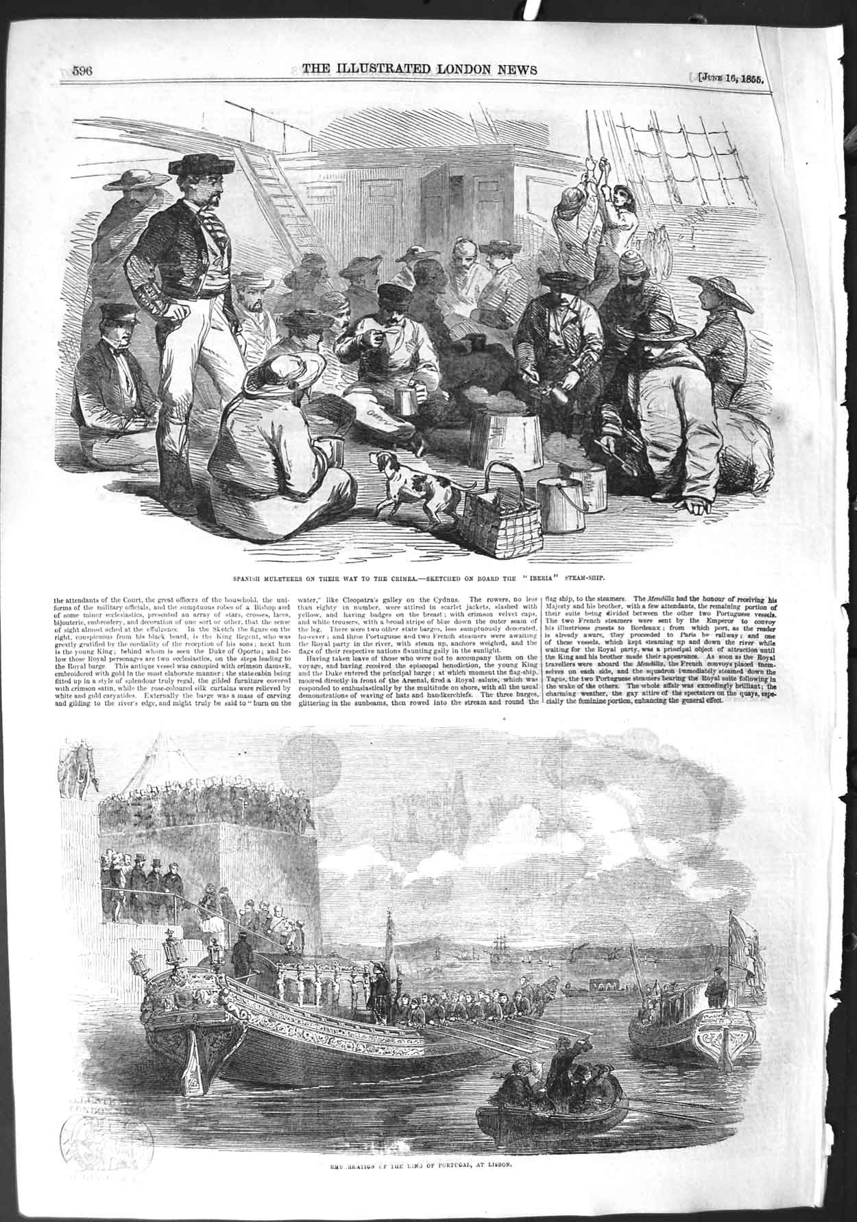 [Print 1855 Spanish Muleteers Crimea War King Portugal Lisbon 596P126 Old Original]