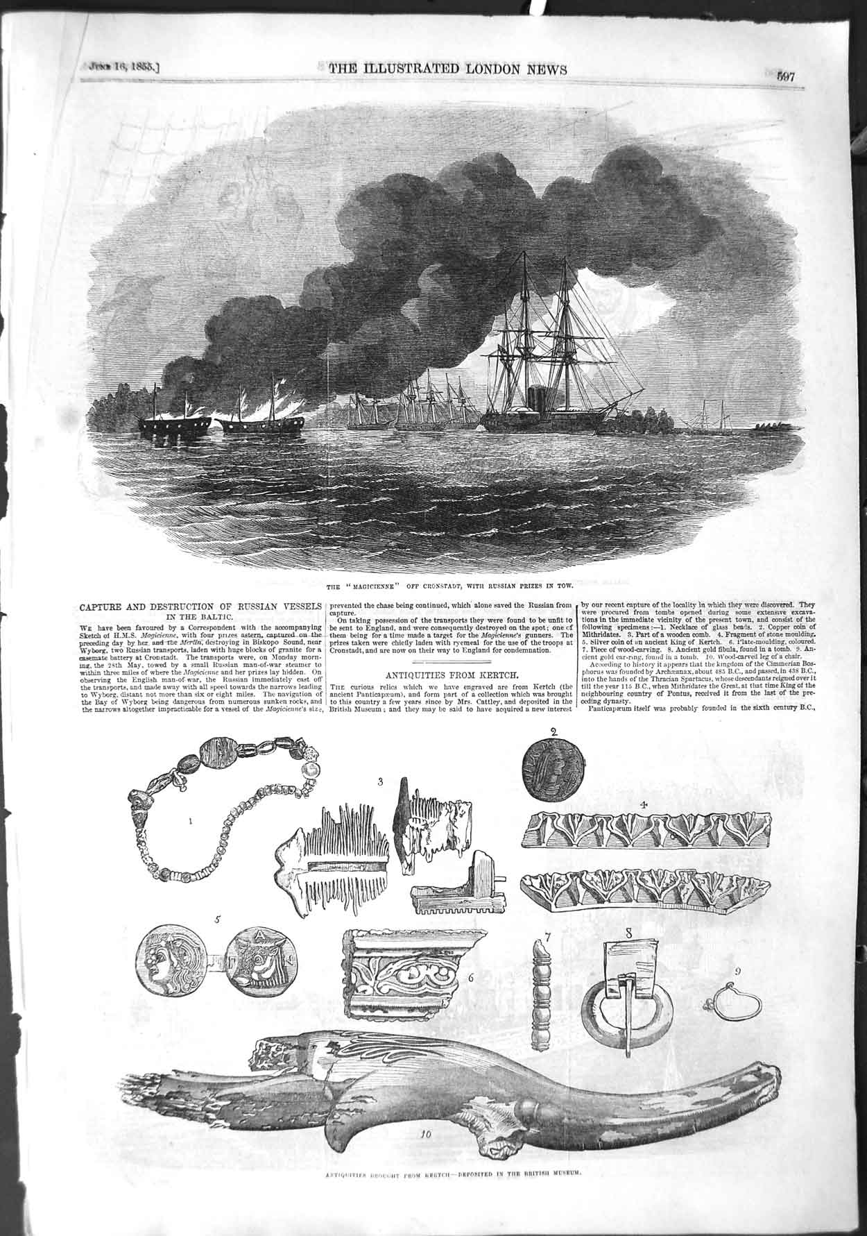 [Print 1855 Magicienne Cronstadt War Ships Antiquities Museum 597P126 Old Original]