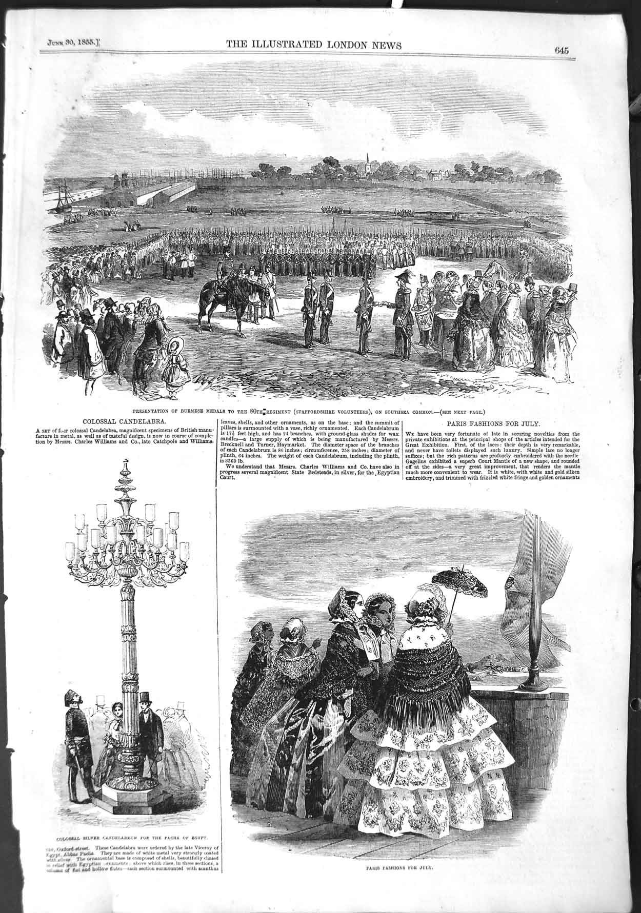 [Print 1855 Burmese Medals War Staffordshire Paris Fashion 645P126 Old Original]
