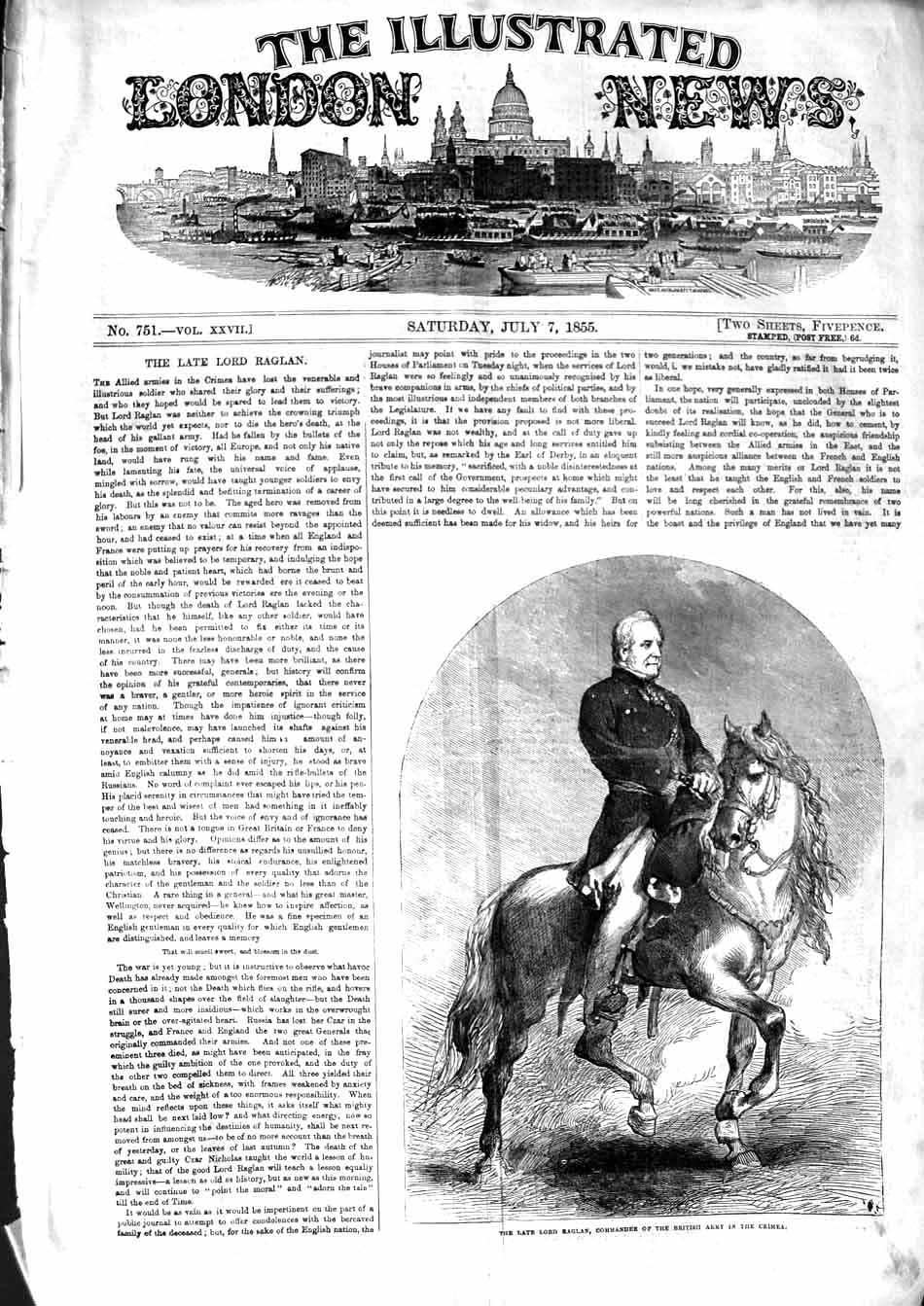 [Print *3196 1855 Lord Raglan Commander British Army Crimea War 001P127 Old Original]