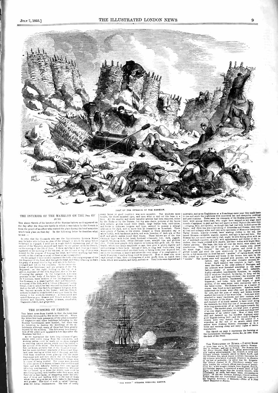 [Print 1855 Interior Mamelon Sidon Steamer Ship Kertch War 009P127 Old Original]