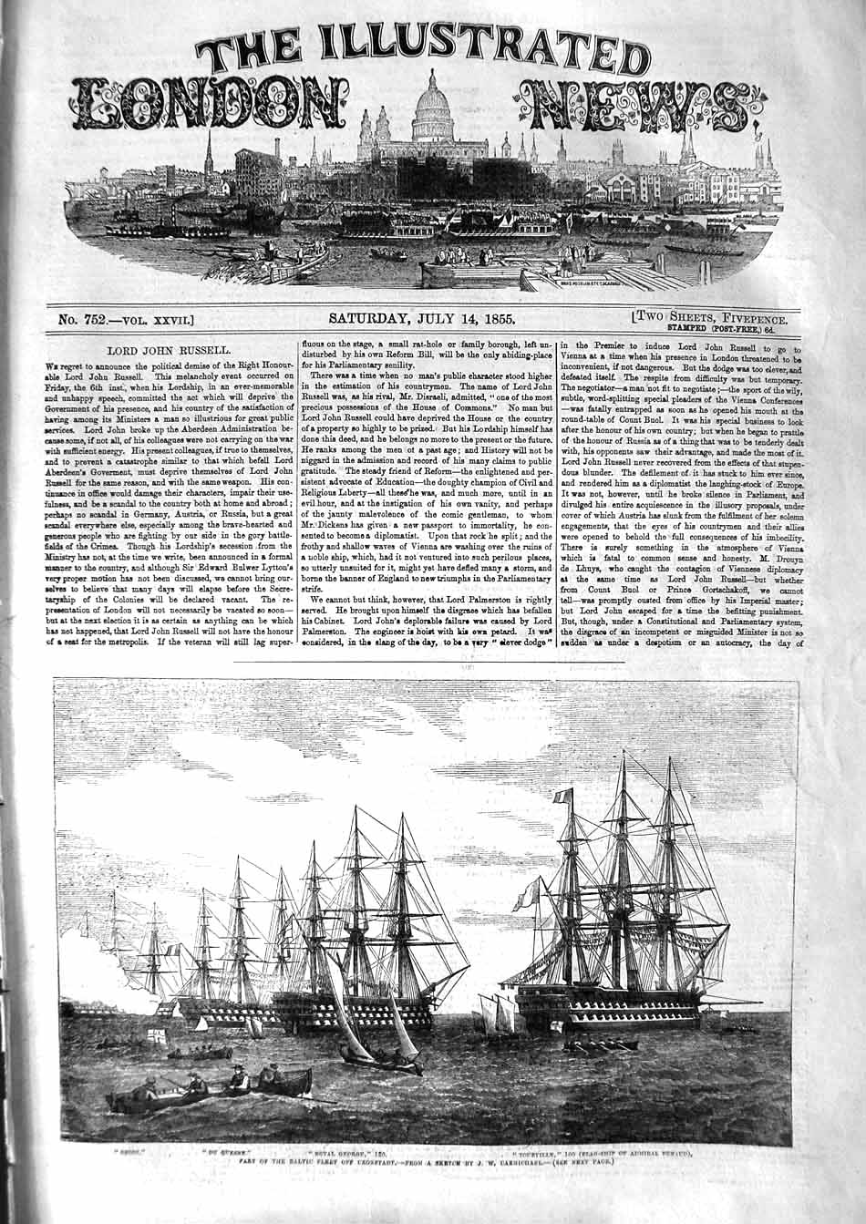 [Print 1855 Baltic Ships Royal George Cronstadt War Orion 033P127 Old Original]