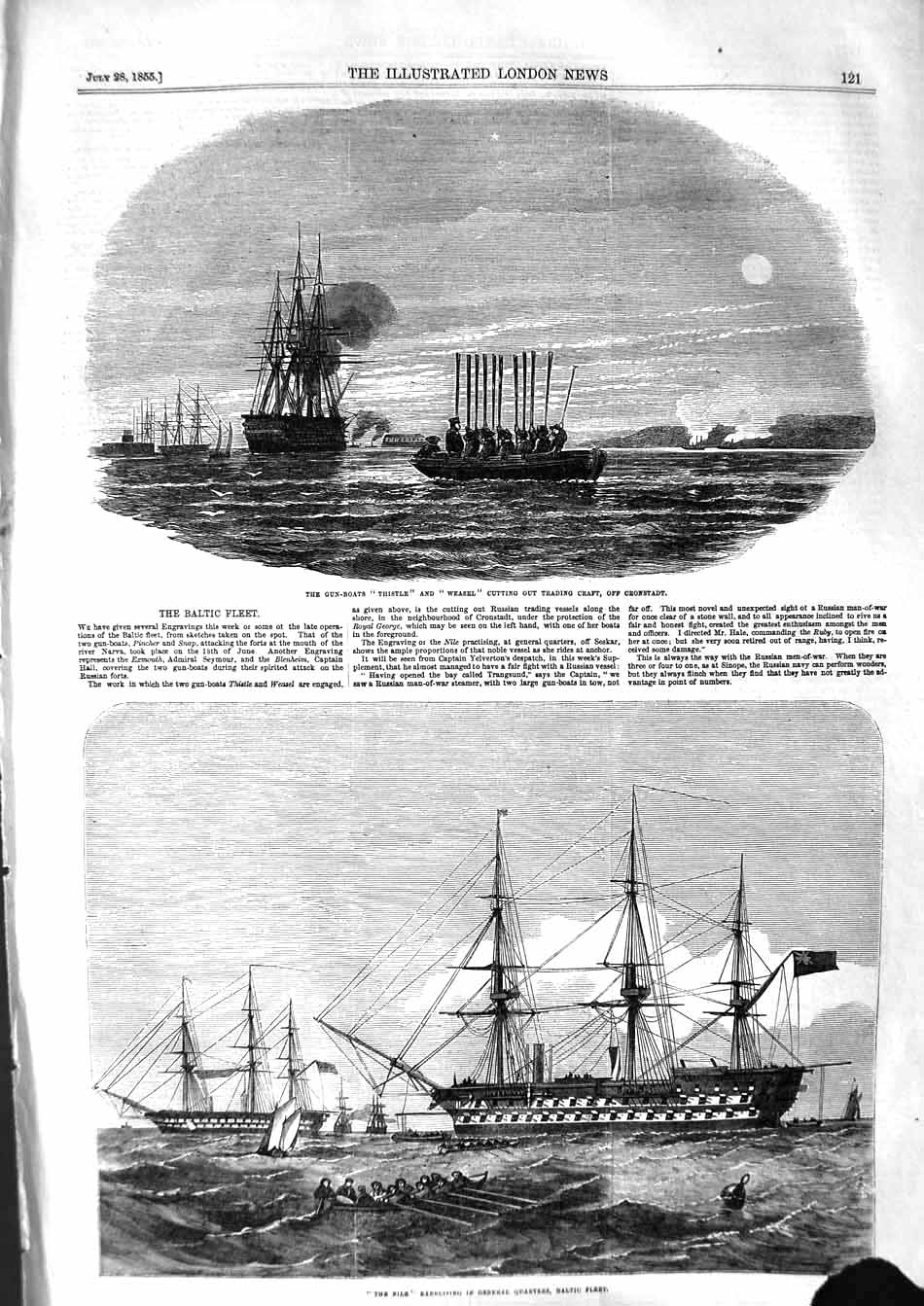 [Print 1855 Baltic War Ships Thistle Weasel Nile Cronstadt 121P127 Old Original]