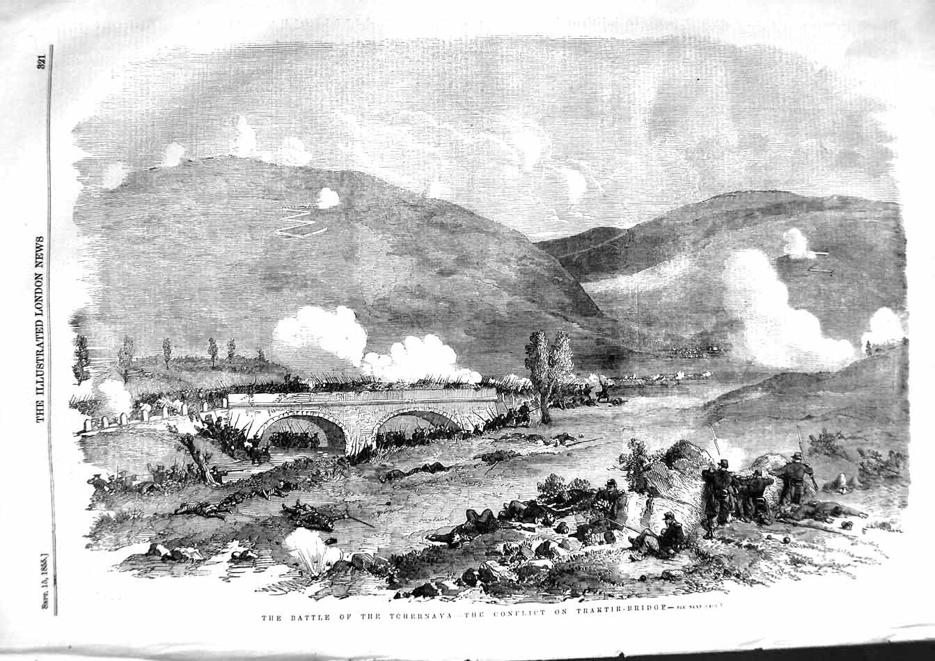 [Print 1855 Battle Tchernaya Conflict Traktir Bridge War 321P127 Old Original]