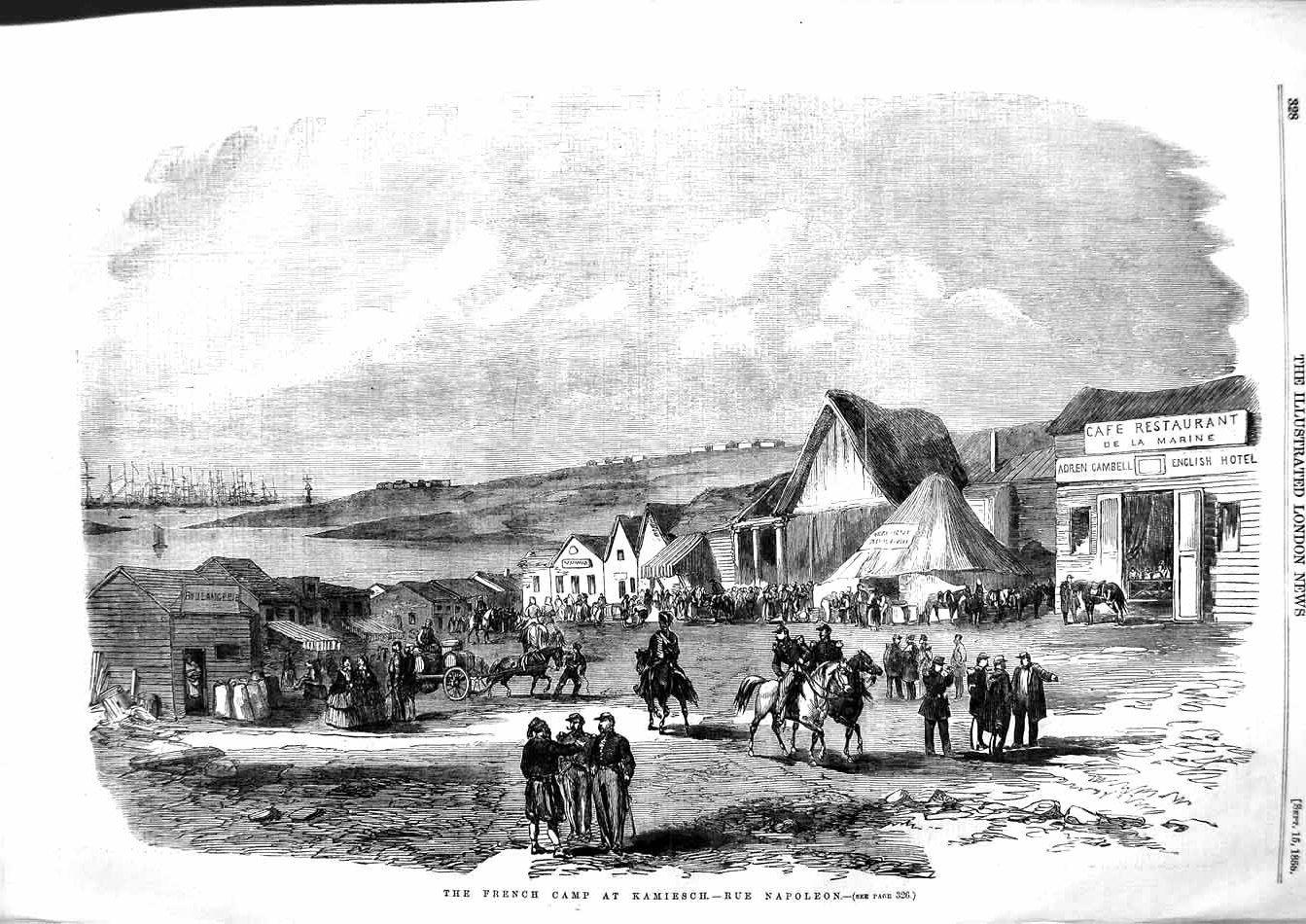 [Print 1855 French Camp Kamiesch Rue Napoleon Ships War Army 328P127 Old Original]