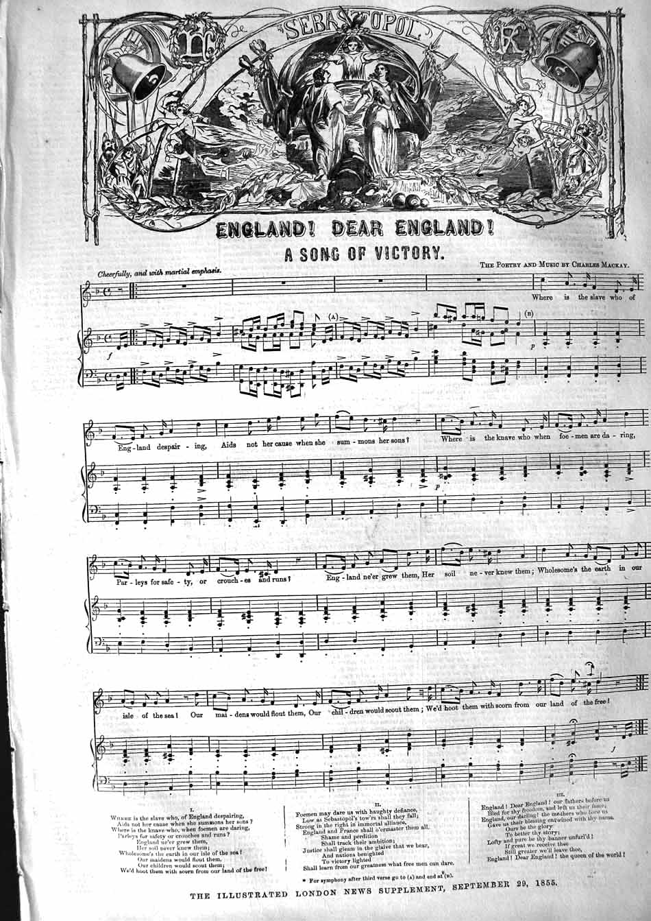 [Print 1855 Sheet Music Song England Song Victory War Mackay 385P127 Old Original]