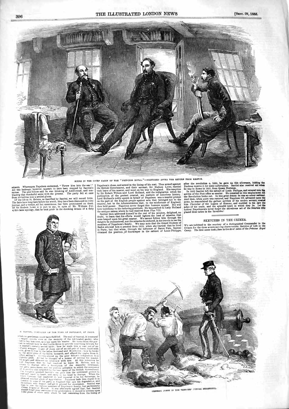 [Print 1855 Ship Cabin Princess Royal Santini Jones War Trench 396P127 Old Original]