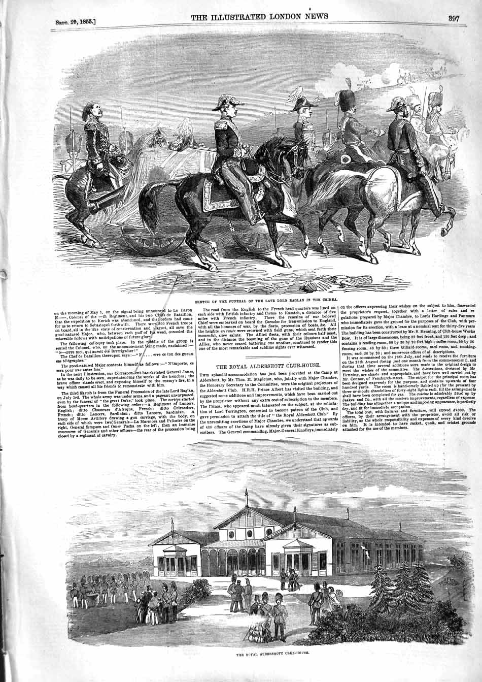 [Print 1855 Funeral Raglan Crimea War Aldershott Club-House 397P127 Old Original]