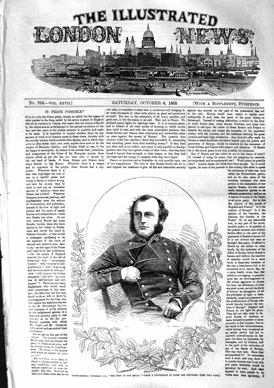 [Print 1855 Portrait Major-General Windham Hero Redan War 401P127 Old Original]