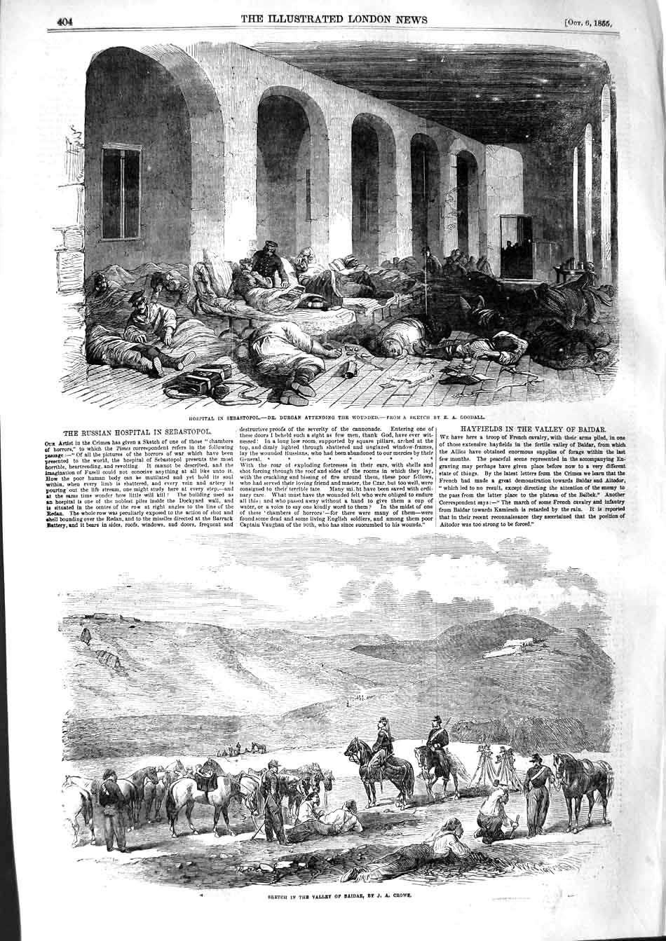 [Print 1855 Hospital Seabastopol War Durgan Valley Baidar 404P127 Old Original]