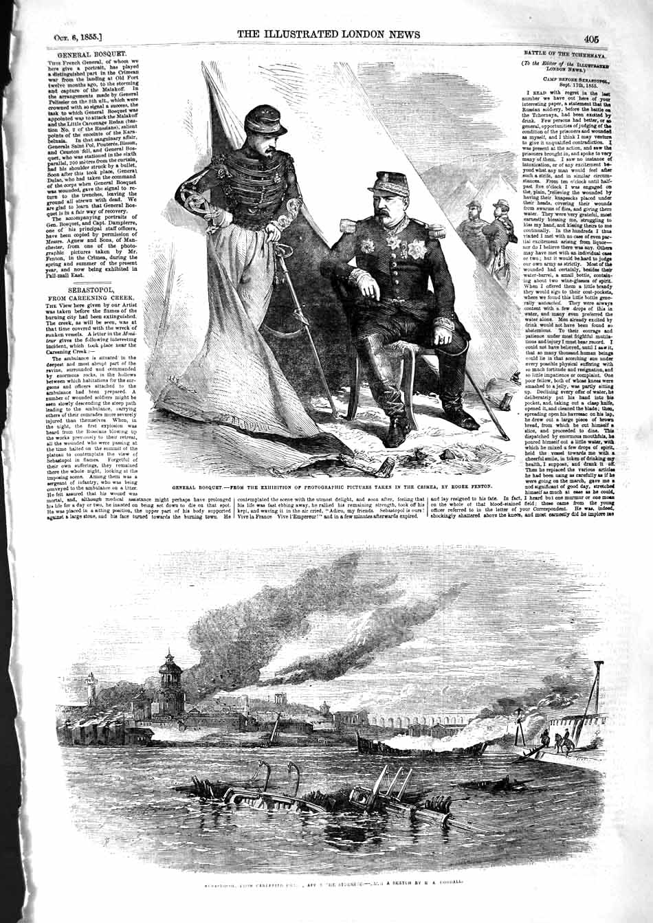 [Print 1855 General Bosquet Portrait Crimea War Sebastopol 405P127 Old Original]