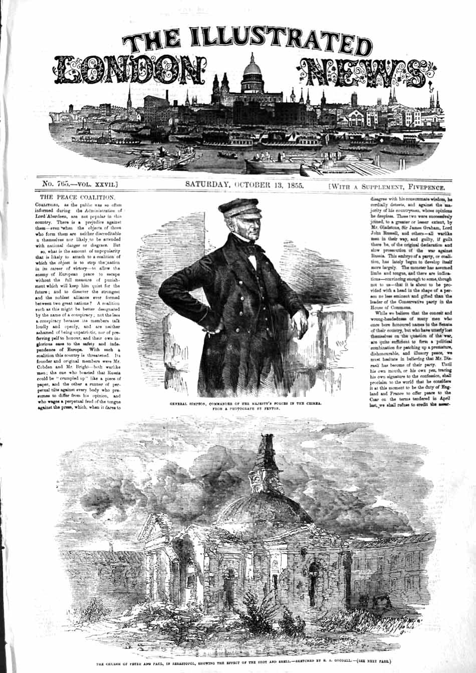 [Print 1855 General Simpson Church Peter Paul Sebastopol War 425P127 Old Original]