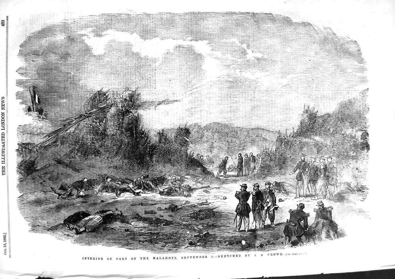 [Print 1855 Interior Part Malakoff Soldiers War Crowe 433P127 Old Original]