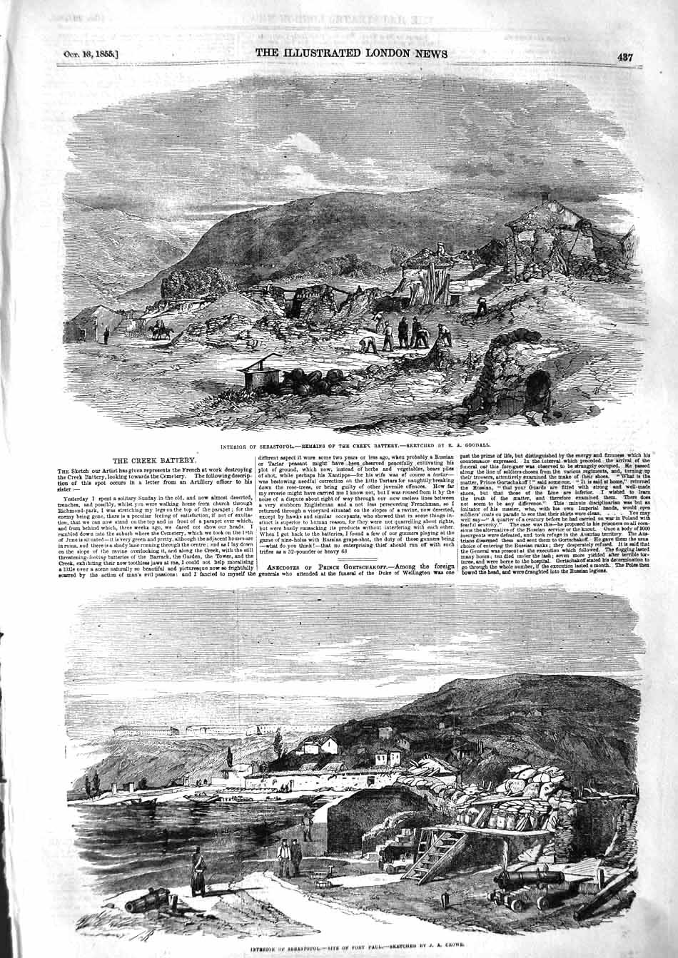 [Print 1855 Sebastopol Creek Battery War Soldiers Mountains 437P127 Old Original]