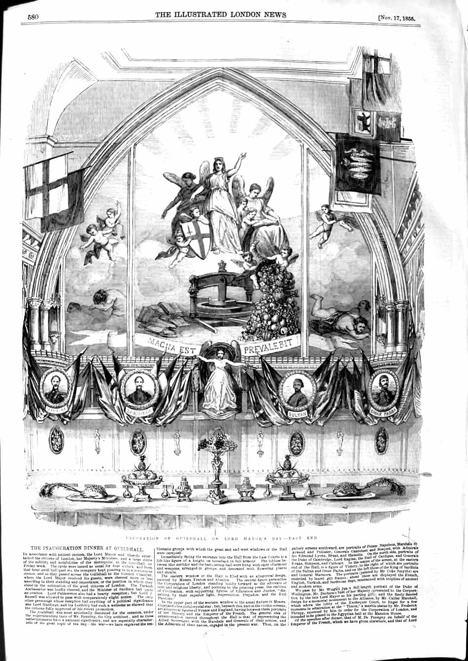 [Print 1855 Decoration Guildhall Lord Mayor'S Day East End 580P127 Old Original]