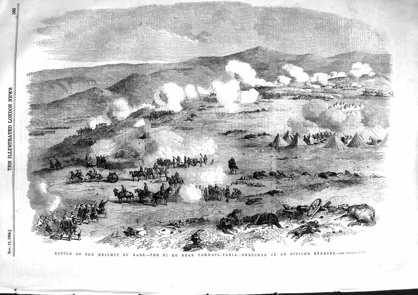 [Print 1855 Battle Heights Kars Fight Tahmasb-Tabia War 585P127 Old Original]
