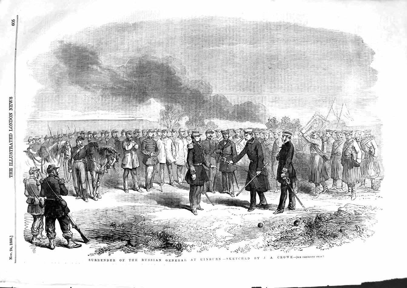 [Print 1855 Surrender Russian General Kinburn Soldiers War 605P127 Old Original]
