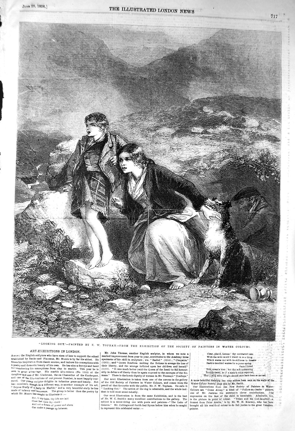 [Print 1856 Scottish Family Dog Mountains Look-Out Topham  Old Original]