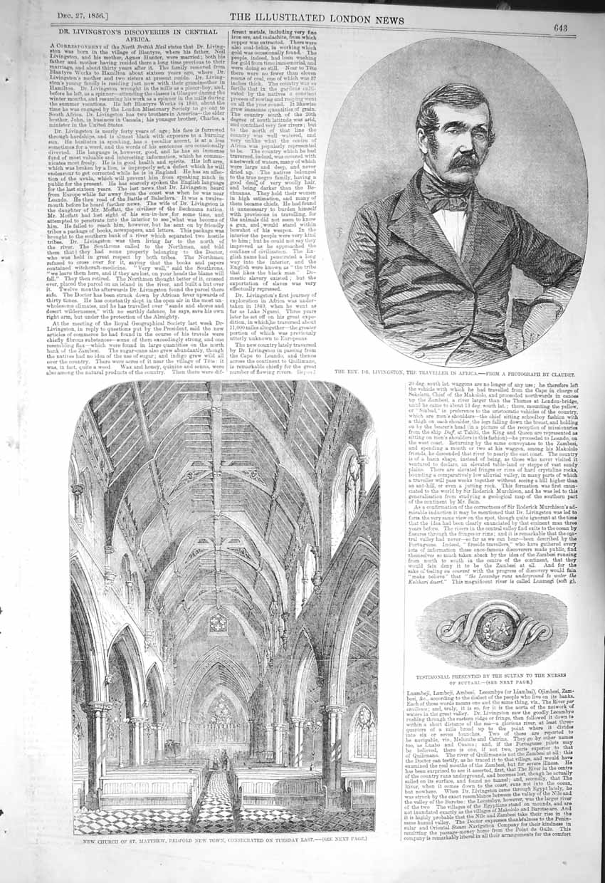 [Print 1856 Dr. Livingtstone Africa Church Matthew Scutari 643P129 Old Original]