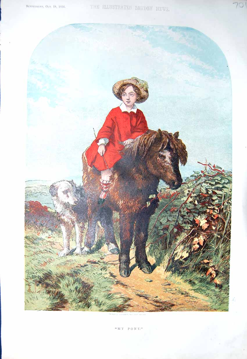 [Print *3219 1856 Colour Little Girl Pony Horse Dog Country 701P129 Old Original]