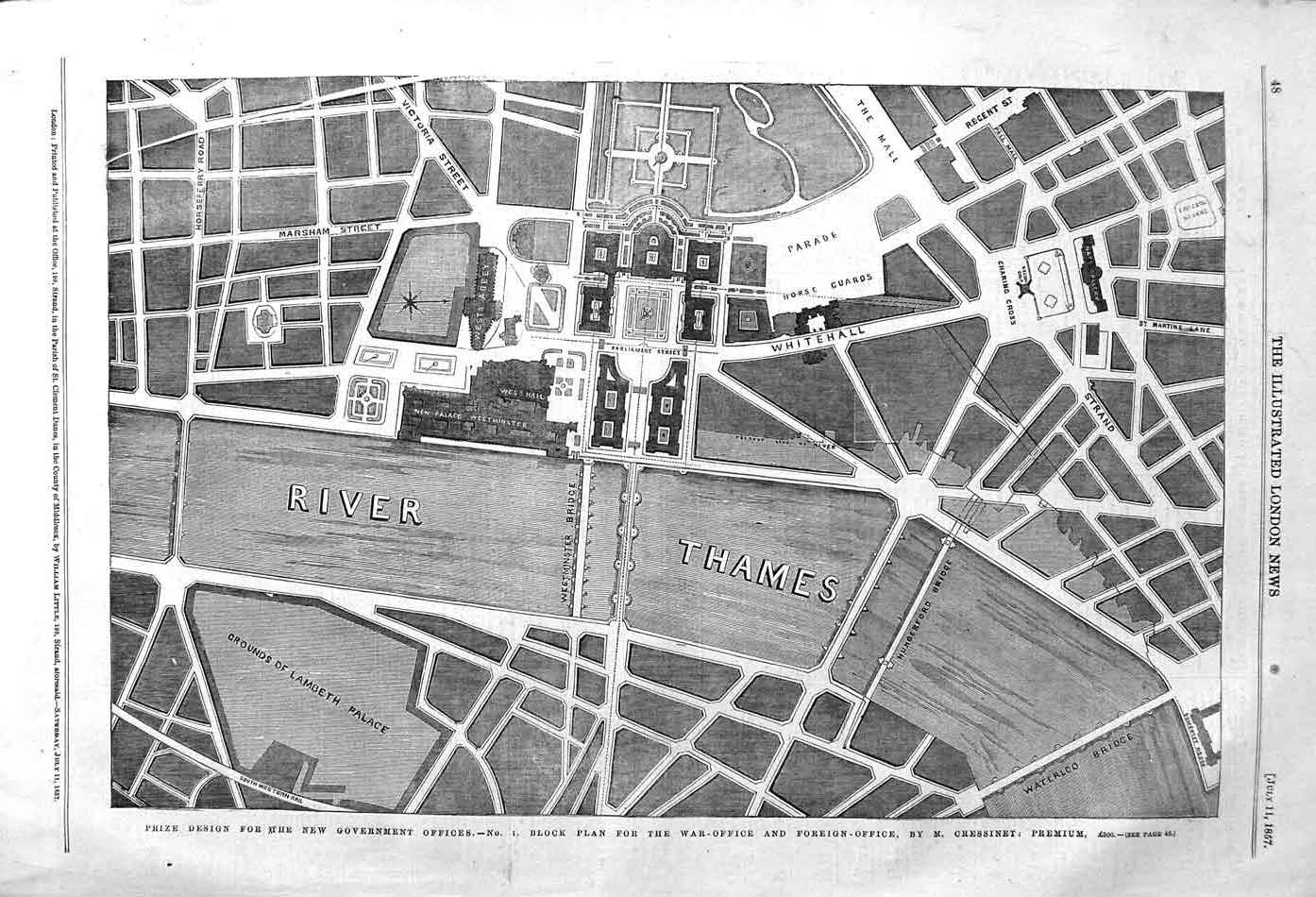 [Print 1857 Design Government Offices Plan War Foreign London 048P131 Old Original]