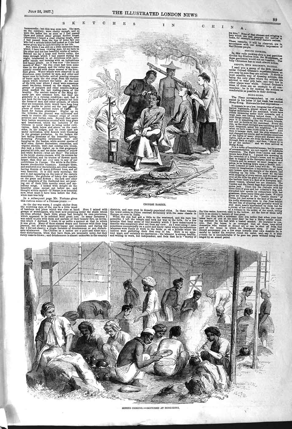 [Print 1857 China Chinese Barber Sepoys Cooking Madras Army  Old Original]