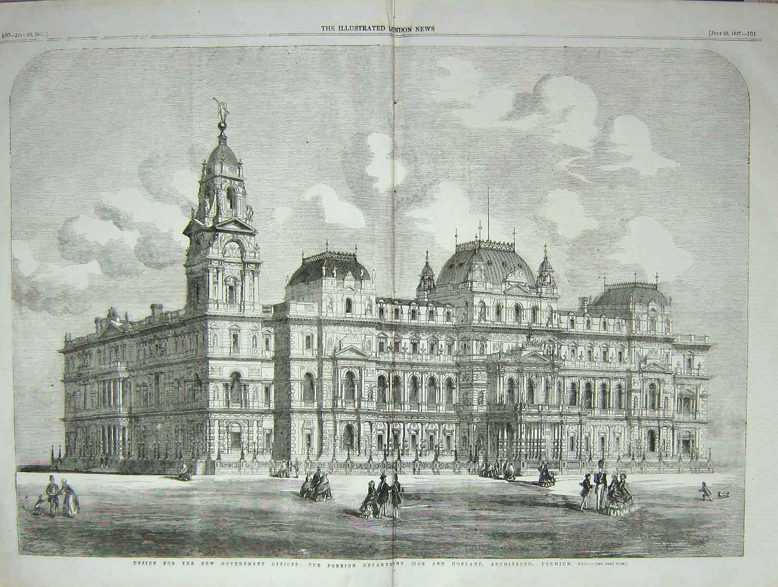 [Print 1857 Design Government Office Foreign Department 099Tp131 Old Original]