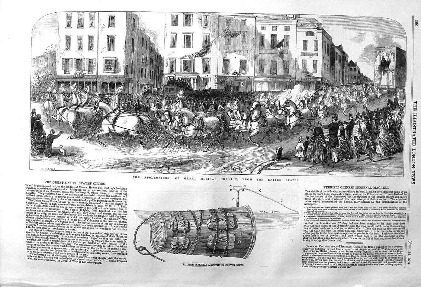 [Print 1857 Apollonicon Chariot America Chinese Infernal 260P131 Old Original]