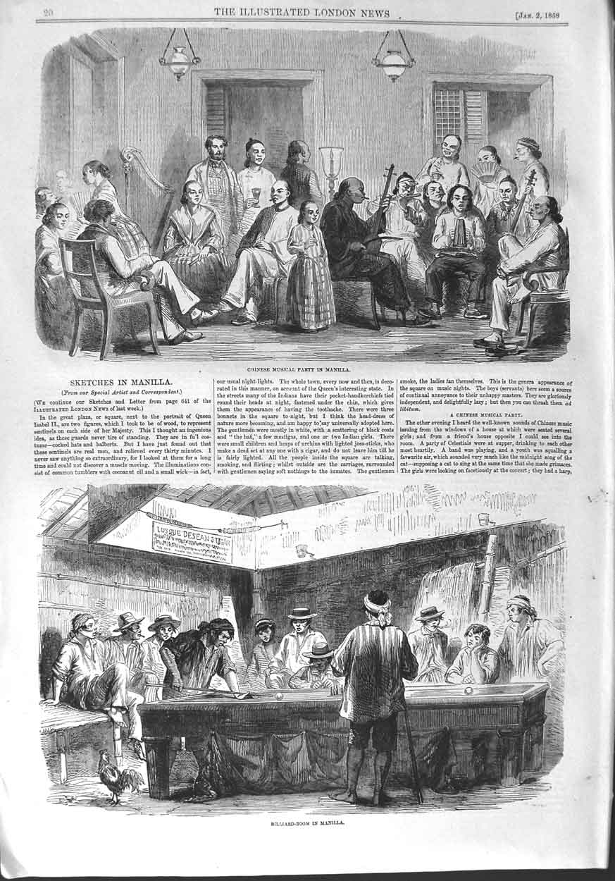 [Print 1858 Chinese Musical Party Manilla Billiard Room Table  Old Original]
