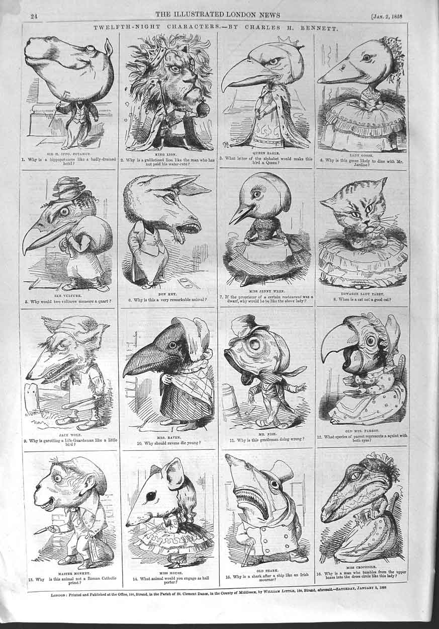 [Print 1858 Twelfth Night Characters Mouse Eagle Don Key Wren 024P132 Old Original]