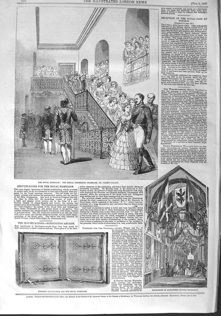 [Print 1858 Royal Wedding St. James Palace Arcade Piccadilly 152P132 Old Original]
