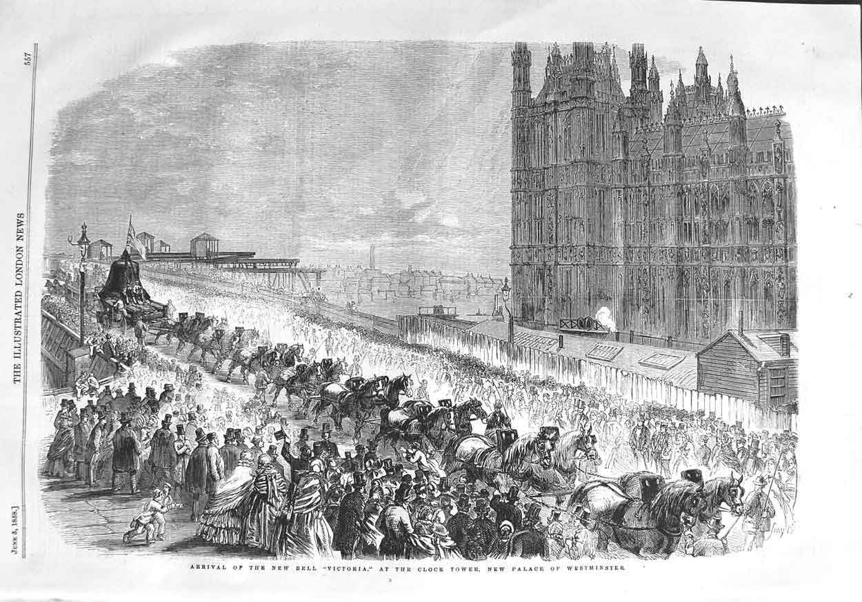 [Print 1858 New Bell Victoria Clock Tower Palace Westminster 557P132 Old Original]