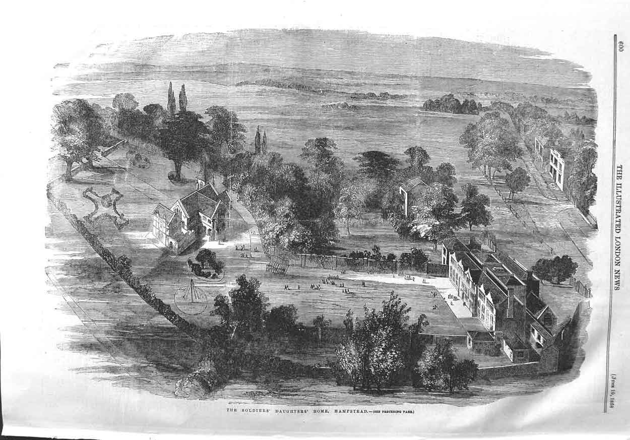 [Print 1858 Soldiers Daughters Home Hampstead England 600P132 Old Original]