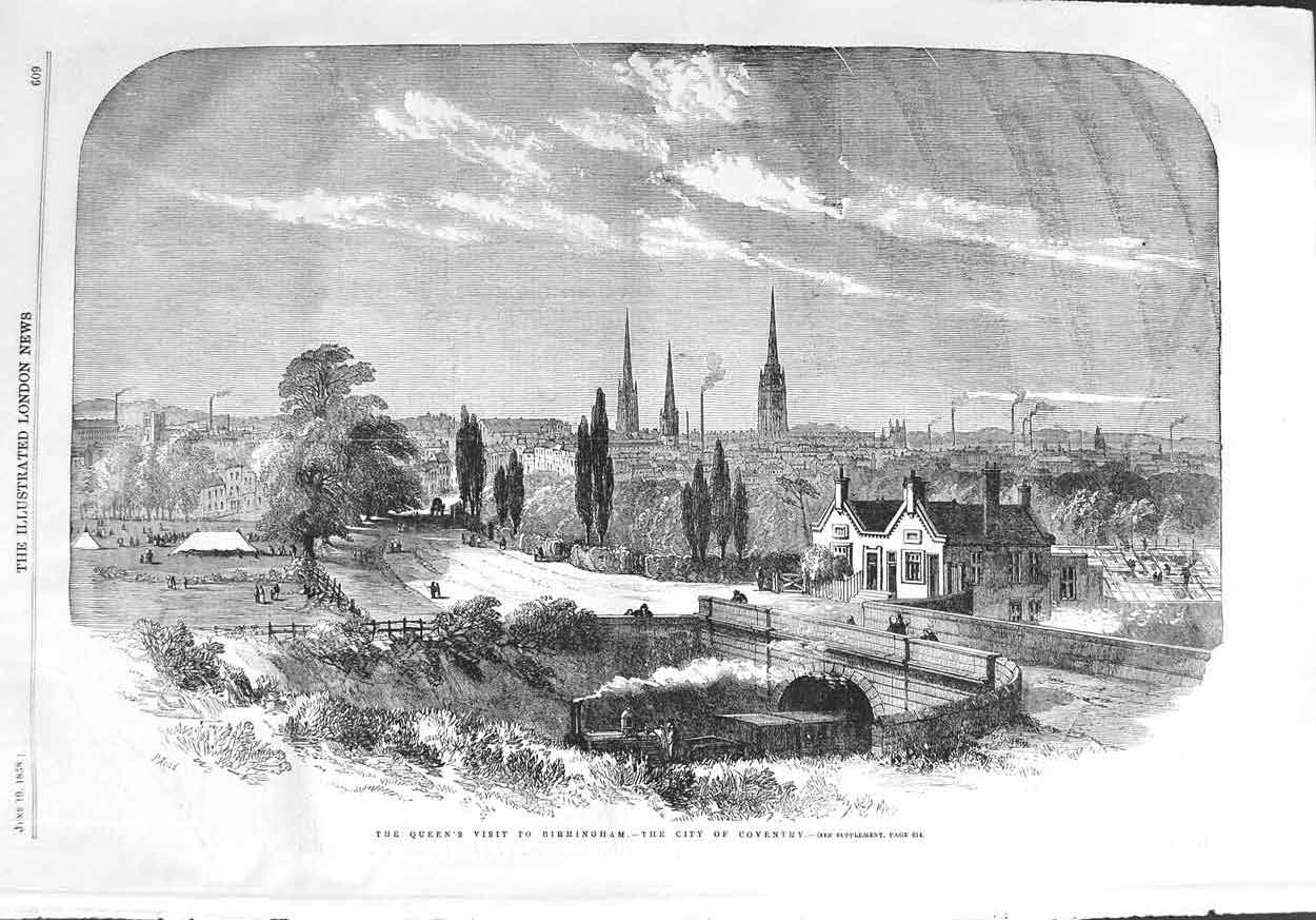 [Print 1858 Queen Train View City Coventry Cathedral Bridge 609P132 Old Original]