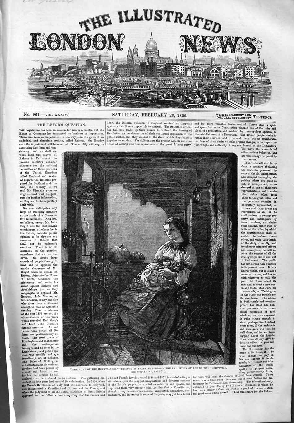 [Print 1859 Family Home Mountaineer Lady Baby Fine Art 193P134 Old Original]