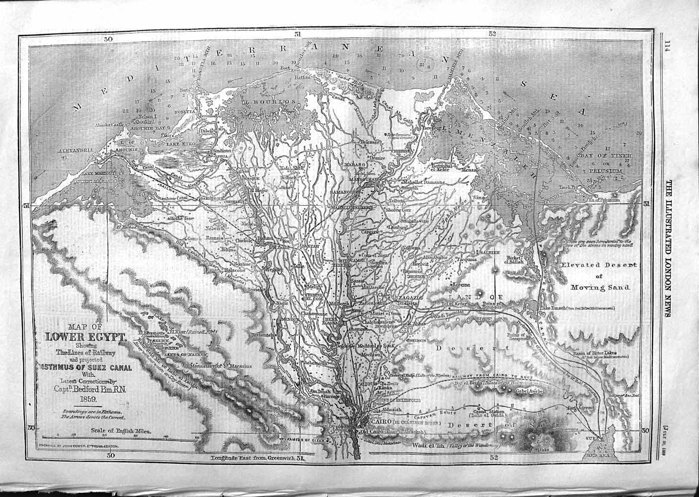 [Print 1859 Map Lower Egypt Railway Isthmus Suez Canal  Old Original]