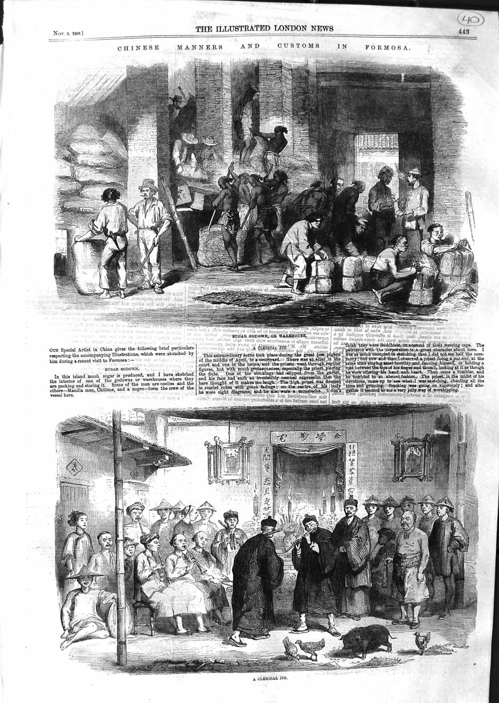 [Print 1859 Clerical Jig Sugar Godown Warehouse Formosa  Old Original]