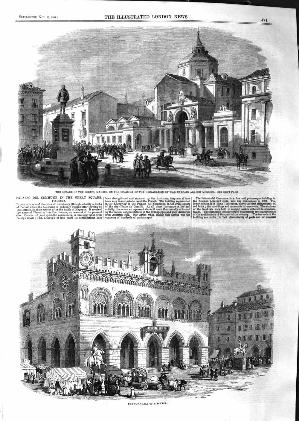 [Print 1859 Townhall Piacenza Cortes Madrid War Spain Morocco Old Original]