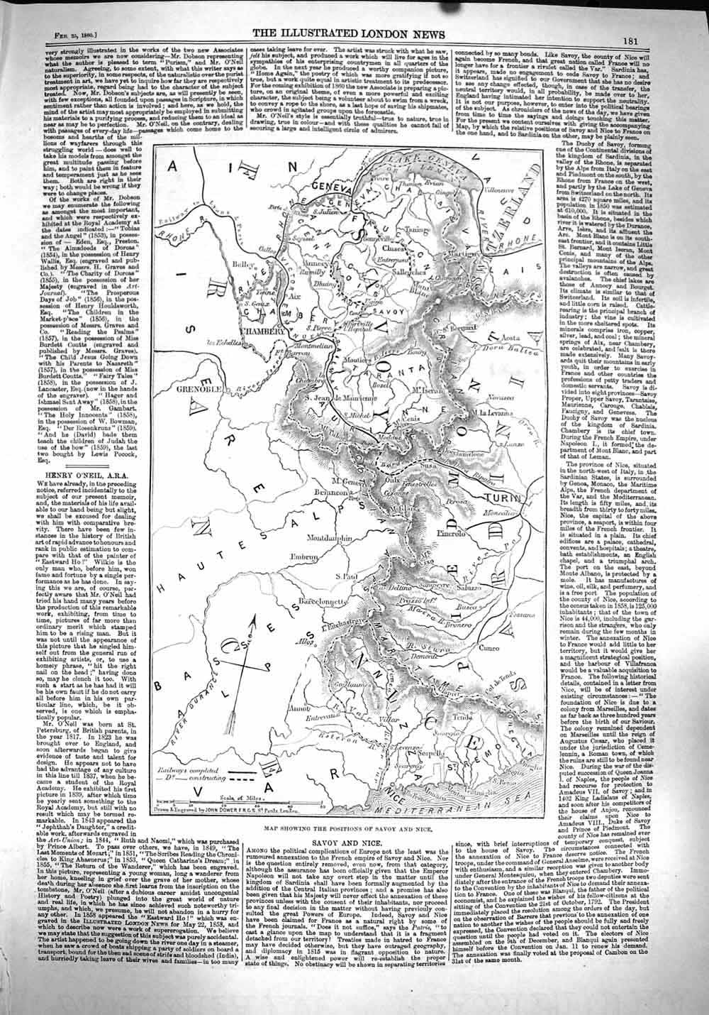 [Print 1860 Map Savoy Nice France Chambery Turin Mediterranean 181P136 Old Original]