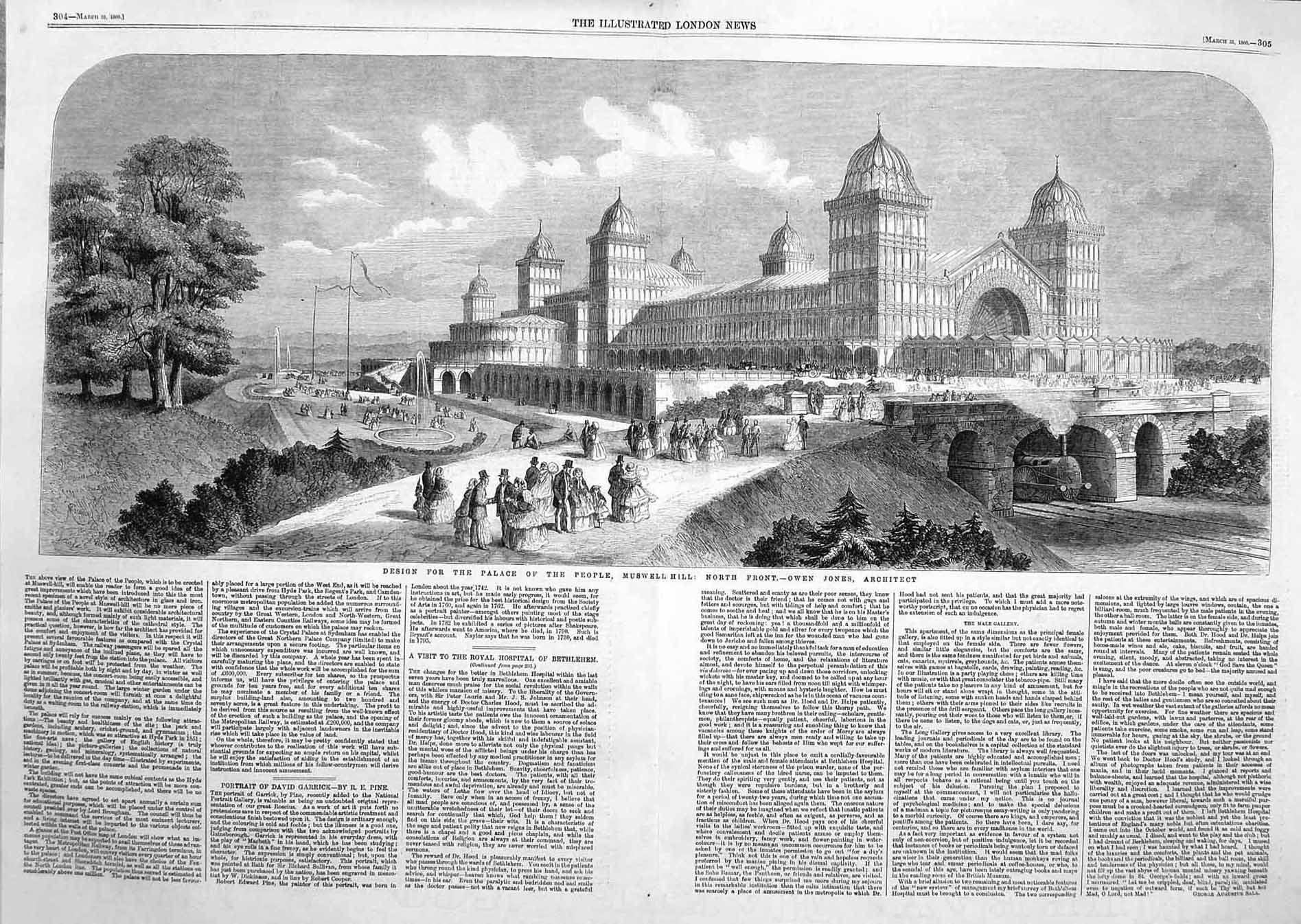 [Print 1860 Design Palace People Muswell Hill Architacture 303Tp136 Old Original]