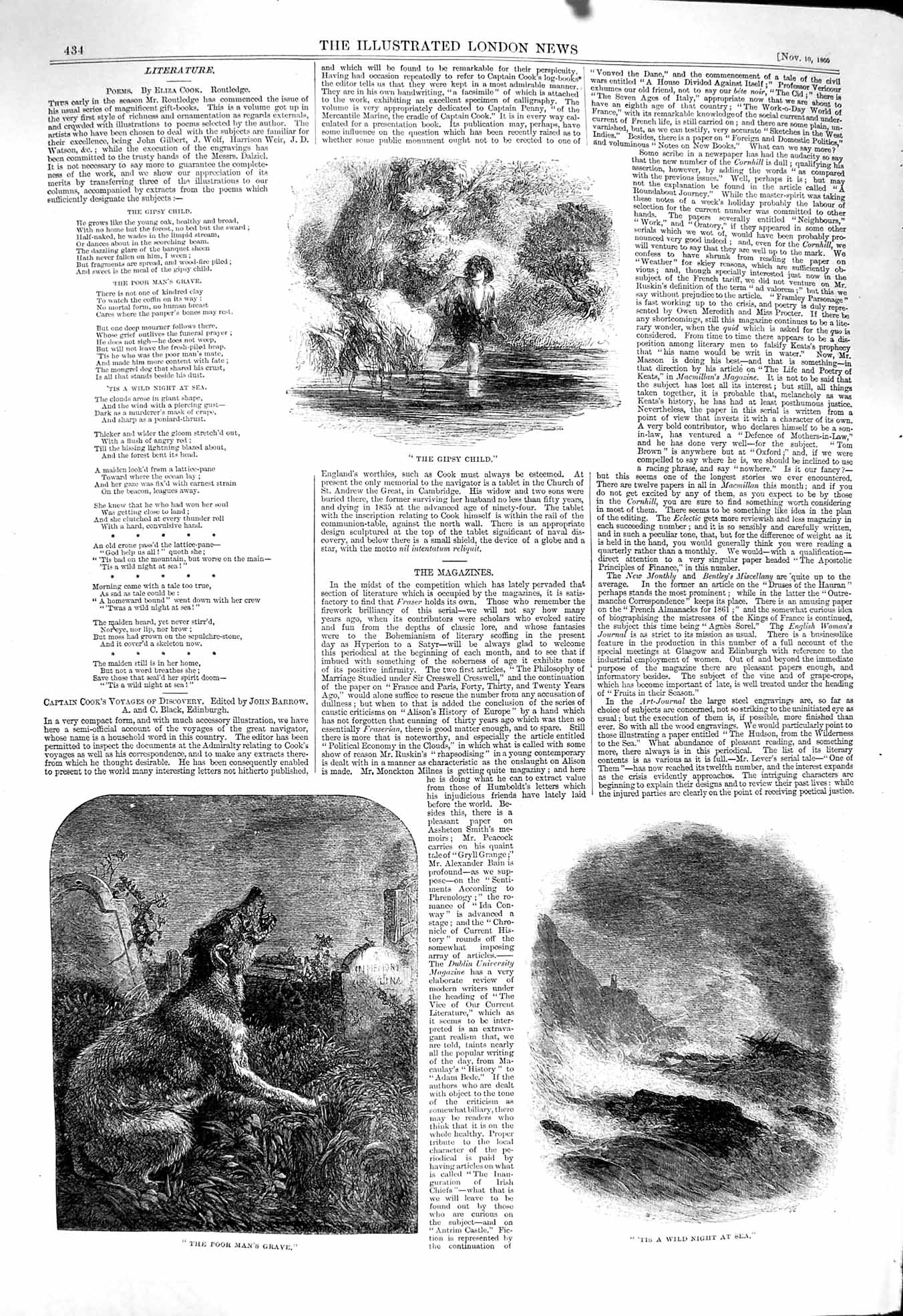 [Print 1860 Gipsy Child Howling Dog Por Man'S Grave Stormy Sea 434P137 Old Original]