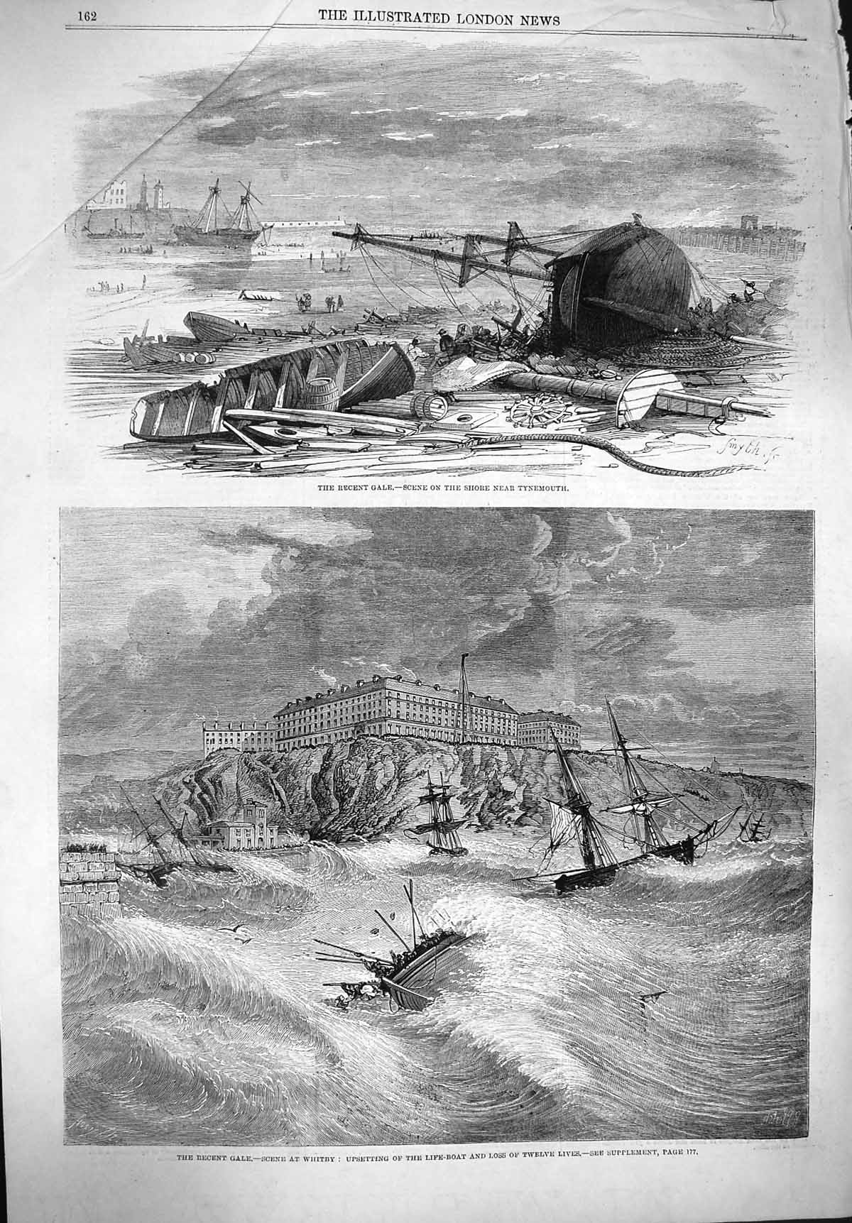 [Print 1861 Ship Wrecks Tynemouth Gale Whitby Life-Boat Storm  Old Original]
