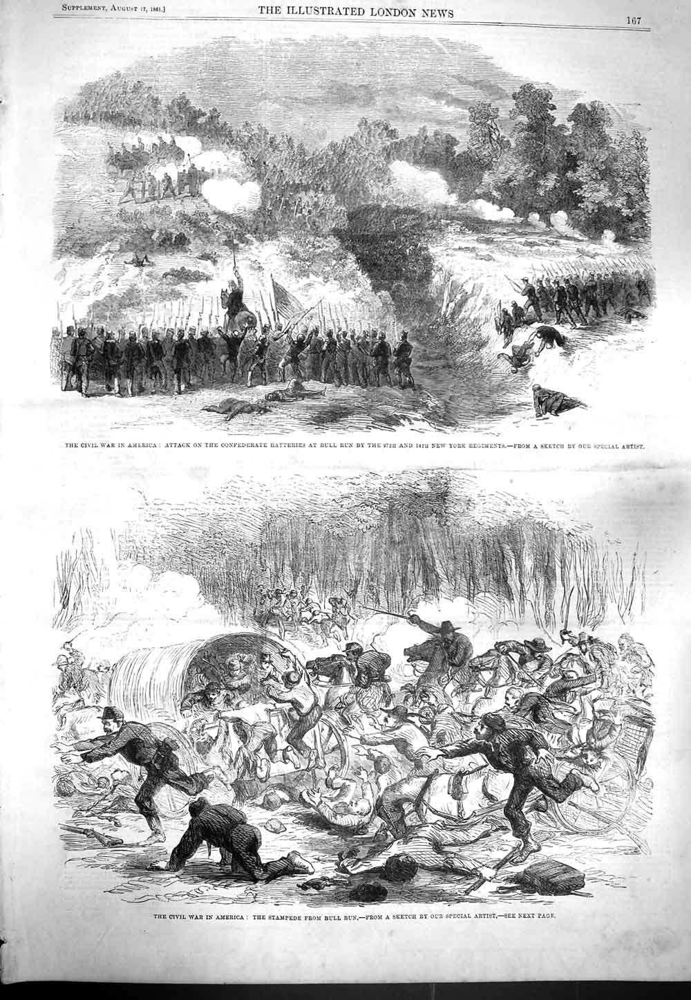 [Print 1861 War America Battle Civil Wars Bull Run Stampede 167P139 Old Original]