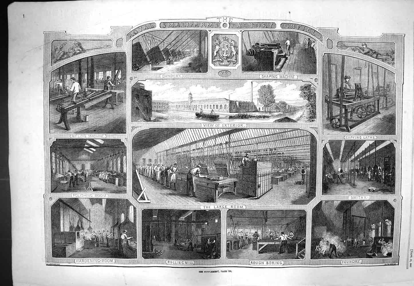 [Print 1861 Smallarms Factory Enfield Foundry Smithy Lathe Old Original]