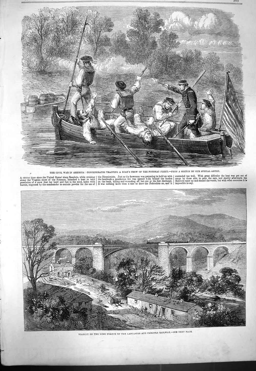 [Print 1861 War America Civil Wars Potomac Carlisle Railway 303P139 Old Original]